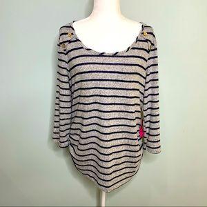 Siren Lily Stripe Maternity Top Size XL NWT
